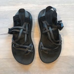 Chacos blue black white sandals size 10
